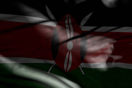 nice photo of dark Kenya flag with folds lying flat in shadows with light spots on it - any feast flag 3d illustration Banco de Imagens
