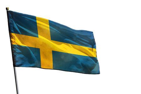 Fluttering Sweden flag isolated on white background.