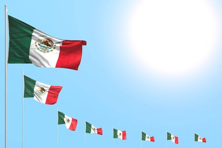 beautiful any occasion flag 3d illustration  - many Mexico flags placed diagonal on blue sky with place for content Banco de Imagens