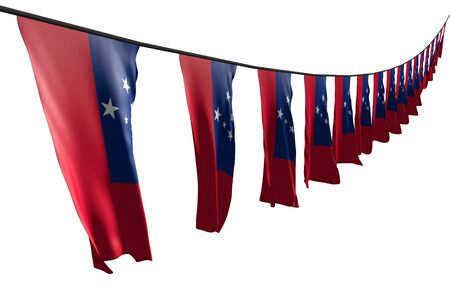 nice any celebration flag 3d illustration  - many Samoa flags or banners hangs diagonal with perspective view on rope isolated on white