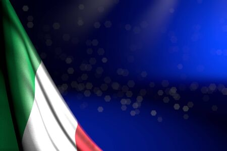wonderful photo of Italy flag hangs diagonal on blue with bokeh and empty space for content - any celebration flag 3d illustration
