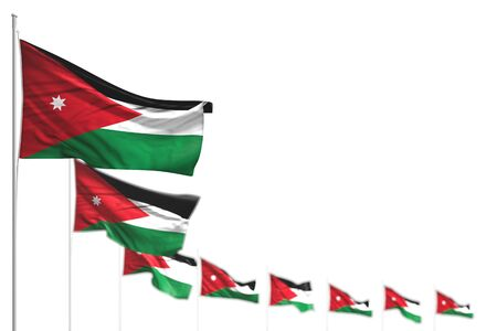 wonderful day of flag 3d illustration  - Jordan isolated flags placed diagonal, picture with soft focus and space for text Banco de Imagens