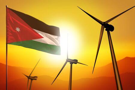 Jordan wind energy, alternative energy environment concept with turbines and flag on sunset - alternative renewable energy - industrial illustration, 3D illustration