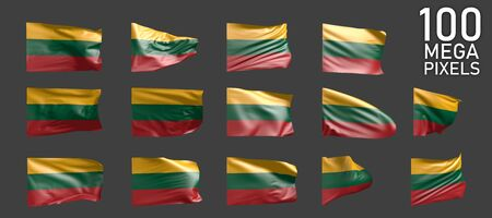 many various images of Lithuania flag isolated on grey background - 3D illustration of object Banco de Imagens