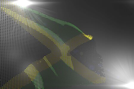 beautiful hi-tech picture of Jamaica flag made of dots waving on grey with free place for content - any occasion flag 3d illustration