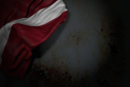 nice day of flag 3d illustration  - dark illustration of Latvia flag with large folds on rusty metal with free space for text