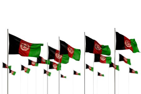 pretty any occasion flag 3d illustration  - Afghanistan isolated flags placed in row with soft focus and place for content