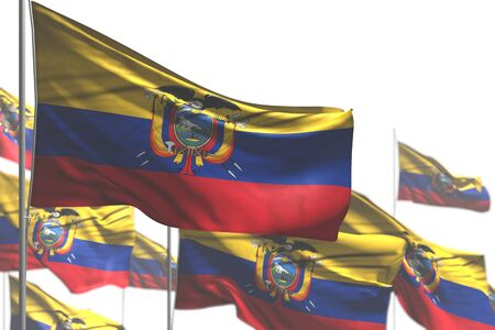 pretty many Ecuador flags are waving isolated on white - illustration with soft focus - any celebration flag 3d illustration