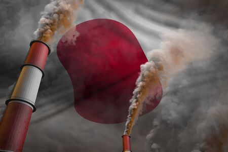 Japan pollution fight concept - two huge factory chimneys with heavy smoke on flag background, industrial 3D illustration Stock fotó