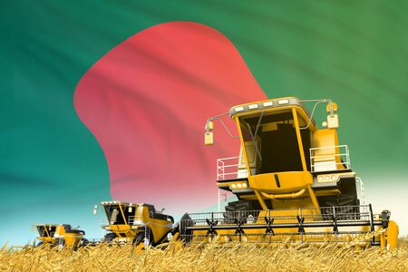 industrial 3D illustration of yellow rye agricultural combine harvester on field with Bangladesh flag background, food industry concept