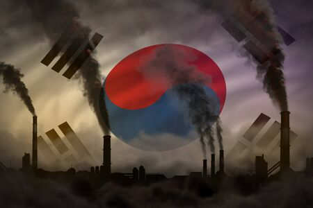 Dark pollution, fight against climate change concept - factory pipes dense smoke on Republic of Korea (South Korea) flag background - industrial 3D illustration