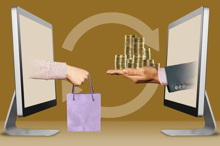 commerce concept, hands from computers. hand with shopping bag and coins . 3d illustration