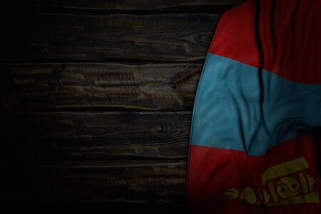 wonderful memorial day flag 3d illustration  - dark illustration of Mongolia flag with big folds on old wood with free place for content Stock fotó