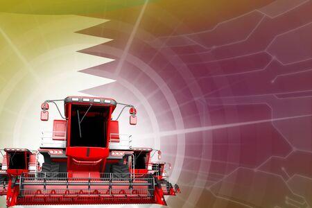 Digital industrial 3D illustration of red modern grain combine harvesters on Qatar flag, farming equipment modernisation concept