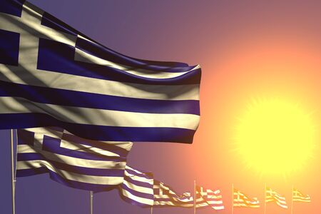 beautiful any celebration flag 3d illustration  - many Greece flags placed diagonal on sunset with space for text