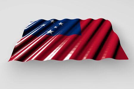 cute shining flag of Samoa with large folds lay isolated on grey - any celebration flag 3d illustration Stock fotó
