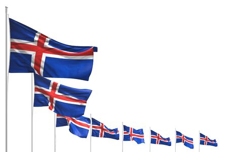 nice many Iceland flags placed diagonal isolated on white with space for text - any occasion flag 3d illustration Stock fotó