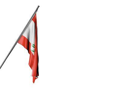 beautiful any feast flag 3d illustration  - Lebanon flag hangs on a diagonal pole isolated on white