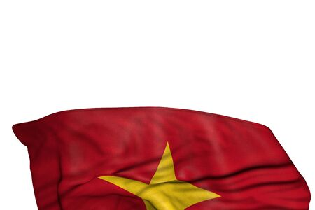 pretty Vietnam flag with big folds lie in the bottom isolated on white - any feast flag 3d illustration