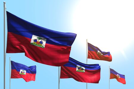 wonderful day of flag 3d illustration  - 5 flags of Haiti are waving on blue sky background