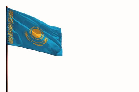 Fluttering Kazakhstan flag isolated, mockup with the place for your text on white background. Stock fotó