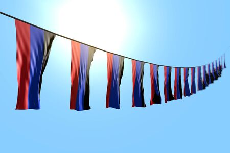 beautiful many Donetsk Peoples Republic flags or banners hanging diagonal on rope on blue sky background with bokeh - any holiday flag 3d illustration Stock fotó