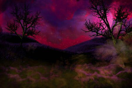 vivid cute dark night backdrop - bokeh background design template 3D illustration soft focus lanterns in the dark concept