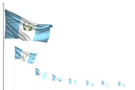 wonderful Guatemala isolated flags placed diagonal, image with bokeh and space for your text - any occasion flag 3d illustration Stock fotó