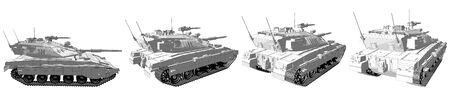Military 3D Illustration of cartoon style rendered and outlined isolated 3D heavy tank with fictional design, highly detailed military concept Imagens