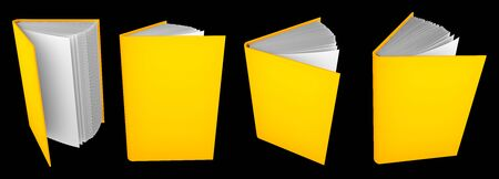 nice highly detailed gold book open by half, university concept isolated on black - 3d illustration of object