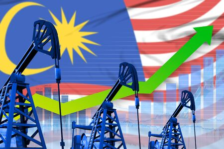 Malaysia oil industry concept, industrial illustration - growing graph on Malaysia flag background. 3D Illustration