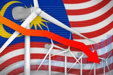 Malaysia wind energy power lowering chart, arrow down  - alternative energy industrial illustration. 3D Illustration Imagens