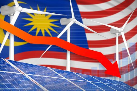Malaysia solar and wind energy lowering chart, arrow down  - renewable energy industrial illustration. 3D Illustration