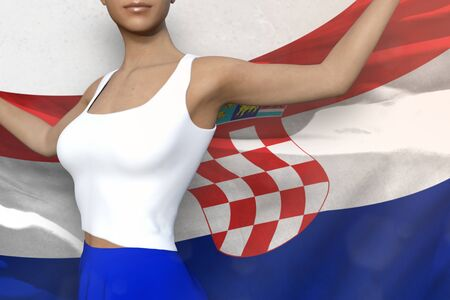 beautiful woman in bright skirt is holding Croatia flag in her hands behind her on the white background - flag concept 3d illustration