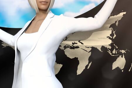 beautiful business lady is holding World flag in her hands behind her on the blue sky background - flag concept 3d illustration Imagens