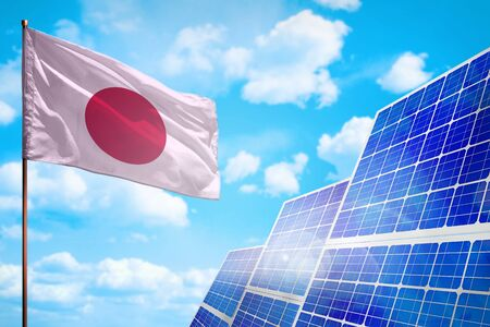 Japan alternative energy, solar energy concept with flag - symbol of fight with global warming - industrial illustration, 3D illustration