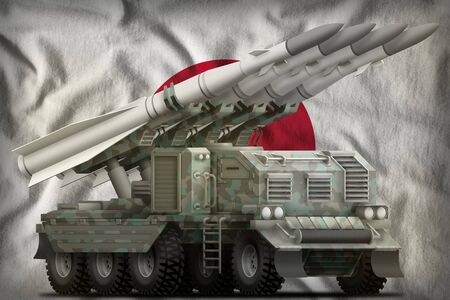 tactical short range ballistic missile with arctic camouflage on the Japan flag background. 3d Illustration