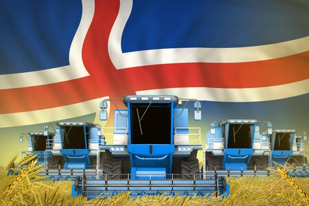 some blue farming combine harvesters on rural field with Iceland flag background - front view, stop starving concept - industrial 3D illustration Imagens