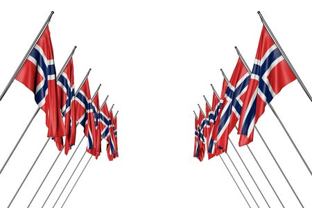 nice any occasion flag 3d illustration  - many Norway flags hangs on in corner poles from left and right sides isolated on white