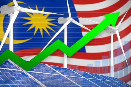 Malaysia solar and wind energy rising chart, arrow up  - alternative energy industrial illustration. 3D Illustration
