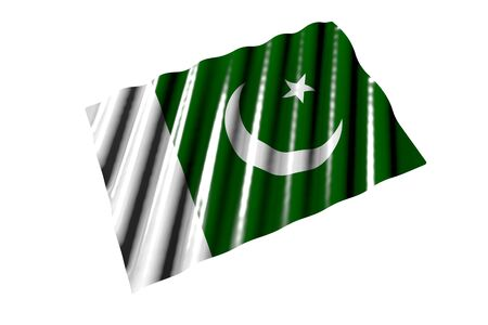 cute shiny flag of Pakistan with large folds lying flat isolated on white, perspective view - any holiday flag 3d illustration