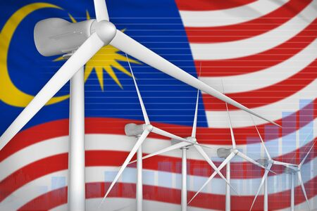 Malaysia wind energy power digital graph concept  - renewable energy industrial illustration. 3D Illustration