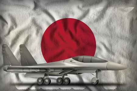 fighter, interceptor on the Japan flag background. 3d Illustration