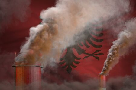 Global warming concept - dense smoke from industry chimneys on Albania flag background with space for your content - industrial 3D illustration Imagens
