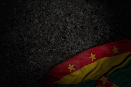 nice dark illustration of Grenada flag with big folds on dark asphalt with free place for content - any celebration flag 3d illustration Stock fotó