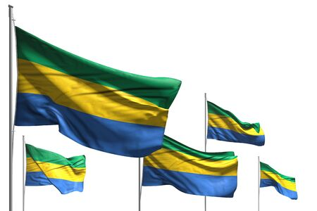 beautiful celebration flag 3d illustration  - five flags of Gabon are wave isolated on white Imagens