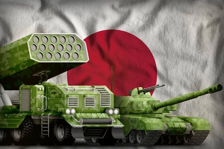 tank and rocket artillery with summer pixel camouflage on the Japan flag background. Japan heavy military armored vehicles concept. 3d Illustration