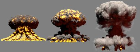 3 big different phases fire mushroom cloud explosion of nuclear bomb with smoke and flames isolated on grey background - 3D illustration of explosion