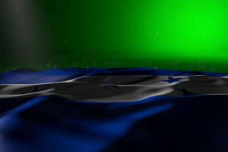 pretty feast flag 3d illustration  - dark illustration of Honduras flag lie on green background with selective focus and empty place for text
