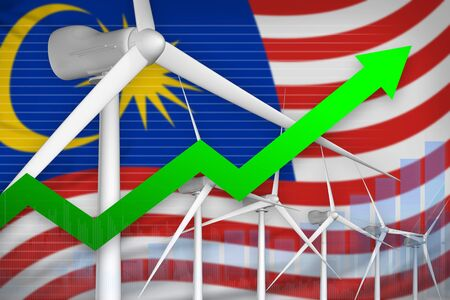 Malaysia wind energy power rising chart, arrow up  - green energy industrial illustration. 3D Illustration Imagens